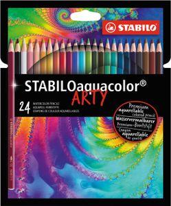 Aquarell-Buntstift - STABILO aquacolor - ARTY - 24er Pack - mit 24 verschiedenen Farben