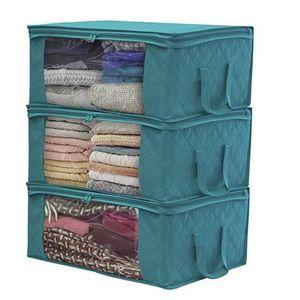 3 Stück Faltbare Staubdichte Aufbewahrungsbox Kleidung Steppdecke Aufbewahrungsbox -Blau 49 × 36 × 21 Cm