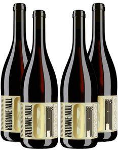 Kolonne Null Rouge 4er Set Alkoholfreier Rouge N°1 Rotwein mit Korken 4x0,75L