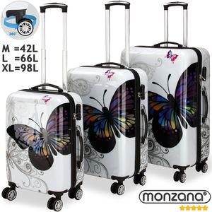 MONZANA 3tlg. Koffer Trolley Set | Hochglanz Gehäuse | gummierte Zwilllingsrolle | Teleskopgriff | Zahlenschloss | Größe M-L-XL | Reisekoffer Hartschale