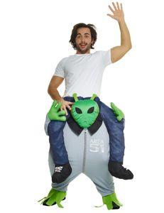 Lustiges Alien Huckepack-Kostüm Außerirdischer grün-grau
