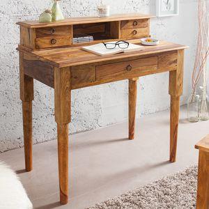 Exklusiver Sekretär HEMINGWAY M Sheesham Stone Finish Massivholz 90 cm Schreibtisch Tisch Holztisch
