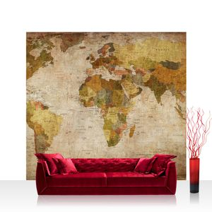 Textil Fototapete no. 0029 - 300X280 cm - Vintage Atlas Weltkarte Atlanten Karte alte Karte alter Atlas liwwing (R)