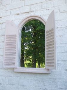 Wunderschöner Wandspiegel,Fensterläden,Landhausstil, creme,Shabby-Chic