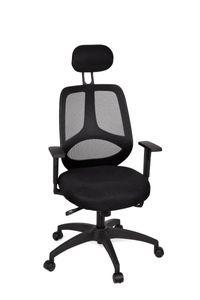 AMSTYLE Bürostuhl SPM1.121 DELUXE Stoffbezug Schreibtischstuhl Armlehne schwarz Chefsessel 120 kg Drehstuhl Kopfstütze