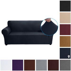 Stretch Sofa Schonbezug Milch Seide Stoff Anti-Rutsch Soft Couch Sofabezug 3-Sitzer Waschbar für Wohnzimmer Kinder Haustiere (Dunkelblau)