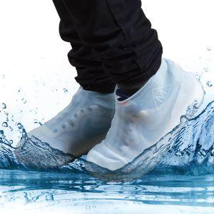 Wasserfeste Schuhüberzieher aus Silikon Überschuhe Regenschutz Schuhüberzieher Weiß transparent - Größe M