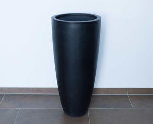 Blumenkübel Fiberglas rund konisch D30xH60cm elegant schwarz-matt.