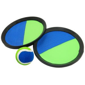 Best Sporting Beach Game Set Schläger Fangscheiben Klettbälle blau grün, Design:Fangscheiben