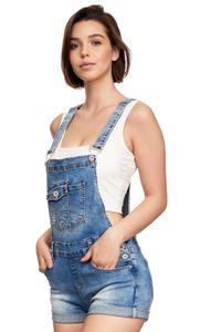 Damen Denim Jeans Latz Shorts Kurze Sommer Latzhose Skinny Stretch Hot Pants mit Träger, Farben:Weiß, Größe:40