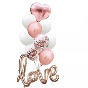 Oblique Unique Konfetti Folien Luftballon Set Love Hochzeit JGA Party Geburtstag - roségold