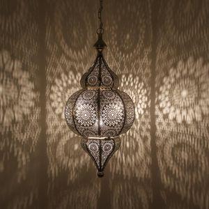 Casa Moro Orientalische Lampe Melisa Silber mit Kette Baldachin & E27 Fassung | Marokkanische Hängelampe | LN2010
