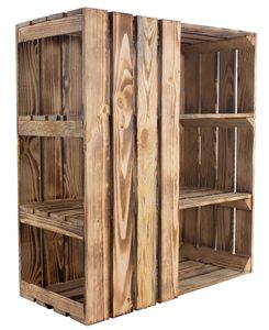 3er Set Unterkonstruktion geflammt/braun für Schreibtisch links 74cm x 65cm x 35cm, Kisten Kistenregal Ablage Obstkiste Weinkiste