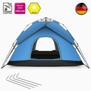 SOGOODS Zelt Sekundenzelt Campingzelt 3-4 Personen Wurfzelt Outdoor Wurfzelt Tent pop-up,200 x 200 x 135 CM,Blau