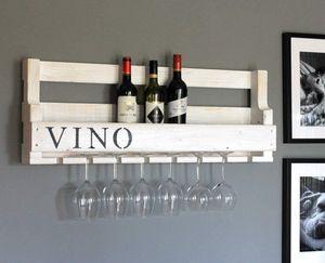 Weinregal aus Holz für die Wand - mit Gläserhalter mit VINO Schriftzug - Weiß - fertig montiert - Regal für Weinflaschen und Weingläser