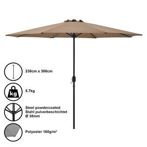 Sonnenschirm Schirm Marktschirm Kurbelschirm Garten Beige / 230x300cm / 5,7kg / Stahl / Polyester 160g/m² [casa.pro]