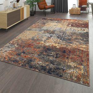Wohnzimmer Teppich Mit Ethno Design Im Vintage Look Kurzflor, Modern Mehrfarbig, Größe:80x150 cm