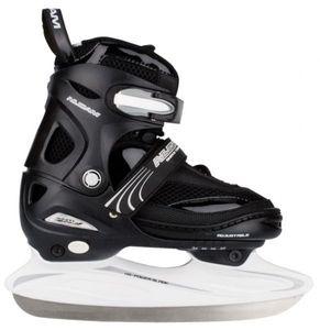 Nijdam Kinder Eishockeyschlittschuh Verstellbar Semi-Softboot Schwarz/Silber/Weiß, Größe:34-37