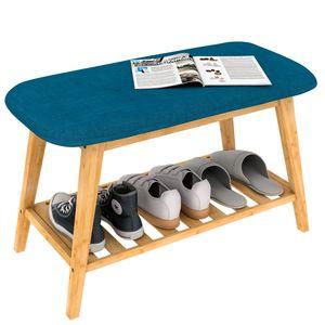 Gepolsterte Sitzbank Schuhbank Schuhregal Holz mit Schuhablage Blau 70 cm,angenehm bei Schuhe Anziehen