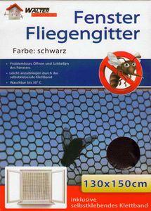 10er Set  Fliegengitter Fenster Schwarz mit Klettband 130 x 150 cm | Insektenschutz Mückenschutz | Mücken Fliegen Insekten Gitter Netz