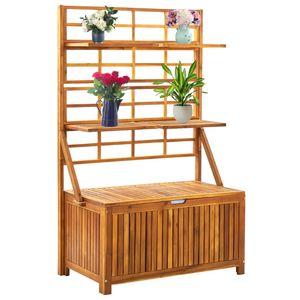 Möbel- Garten-Aufbewahrungsbox,Gartenbox Kissenbox,Gartentruhe Für Balkon & Terrasse mit Spalier 99x55x160 cm Massivholz Akazie💧1924
