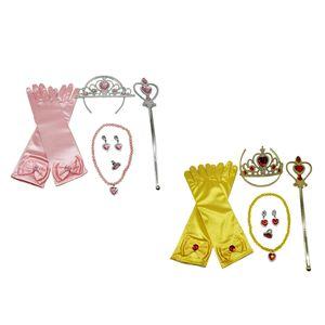 2 Sätze Mädchen Prinzessin Kostüm Zubehör 6 / Set Rosa / Gelb