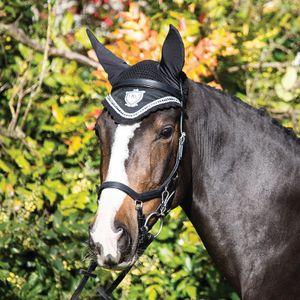 Horseware Rambo Diamante Ear Net - Black/Diamante, Ausführung:Cob/Horse (M)