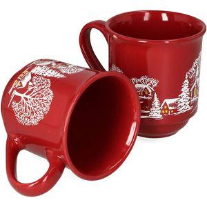 WeVe Keramik Glühweinbecher mit Henkel in bordeaux rot 200ml