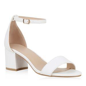 Mytrendshoe Klassische Damen Sandaletten Mid Heel Blockabsatz Schuhe 826401, Farbe: Weiß PU, Größe: 41
