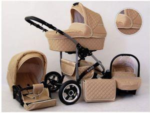 Kinderwagen Qbaro Alu 3 in 1- Set Wanne Buggy Babyschale Autositz mit Zubehör Beige
