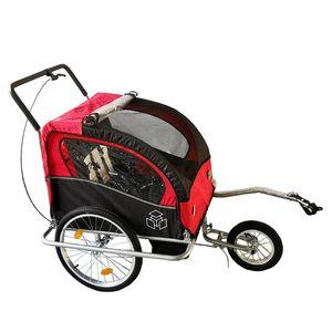 Fahrradanhänger Jogger Kinderanhänger 2 in1 Radanhänger Anhänger mit Transport - Rot