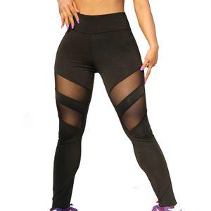 Damen Mesh Patchwork Leggings Sport Langbein Elastic Pants Fitness Yoga Pants Größe:XL,Farbe:Schwarz