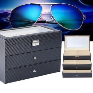 18 Grid Sonnenbrille Brillenetui  Aufbewahrungsbox Brillenbox  Schwarz 35 x 21 x 24.5 cm