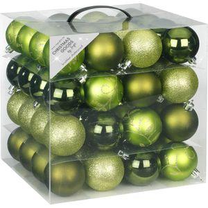 Weihnachtskugeln Muster Mix Kunststoff 6cm, 64er Set, Farbe:Great Green / moosgrün hellgrün
