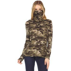 Damen Camouflage Langarm Rollkragenpullover T-Shirt Pullover Top,Farbe: Camouflage Army Green,Größe:XL