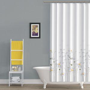 Textil Duschvorhang 240x200 cm DAISY Gänseblümchen Gelb Weiß inkl.Ringe
