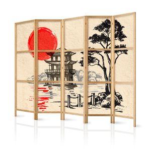 Paravent XXL Japan Orient Zen 225x171 cm - 5-teilig - einseitig - eleganter Sichtschutz - Raumteiler - Trennwand - Raumtrenner - Holz - Design Motiv - Deko p-B-0026-z-c