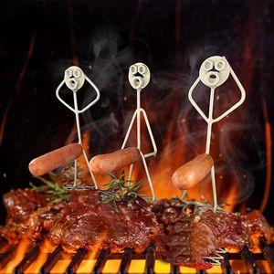 3er-Set Stahlgrill Grillwürste Grill Wurst Halter Hot Dogs