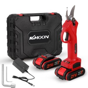 KKmoon 21V Elektrische Gartenschere, 0-30mm Akku Astschere, Wiederaufladbare Lithium Astschere mit 2 Batterien - Rot