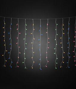 Konstsmide - LED Lichtervorhang, mit bunten Globes, 200 bunte Dioden, 24V Außentrafo, transparentes Kabel ; 3674-503