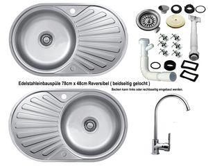 Edelstahl Einbauspüle 78 x 48cm Küchenspüle Spüle reversible + Küchenarmatur Delta