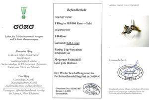 Vorsteckring Brillant Diamant Solitär Ring Roségold 585 14 Karat 0,66 Carat TW / VSI Top Wesselto