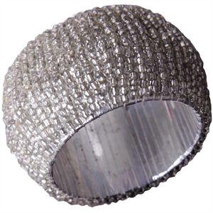 Glasperlen Serviettenring Ø4cm - Silber Weiß
