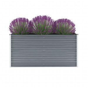 Garten-Hochbeet Verzinkter Stahl 160x40x77 cm Grau