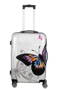 Birendy Reisekoffer Hardcase Trolley Koffer Kofferset - A10 Schmetterling weiß, Farbe:A10-Schmetterling weiß, Größe:Koffer XXL 74x48cm