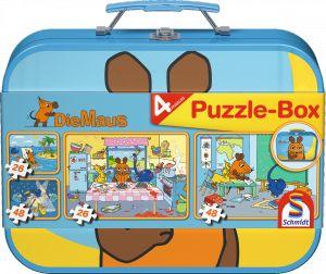 2 x 26 + 2 x 48 Teile Schmidt Spiele Kinder Puzzle Die Maus Koffer 55597