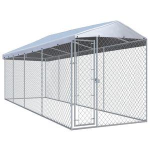 Outdoor-Hundezwinger Hundekäfig Hundebox | Hundetransportbox Welpenauslauf mit Überdachung 760x190x225 cm für Hunde