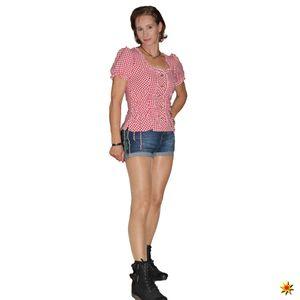 Damen Bluse Oktoberfest Trachtenbluse rot weiß kariert, Größe:40