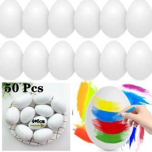 50 Stk Ostereier DIY Plastik Leer Eier Basteln Bemalen für Dekoration und Geschenk,Ornamente Weiß
