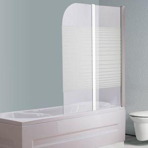 Glas Badewannen Duschabtrennung Satiniert Streifen Duschwand Badewannenaufsatz